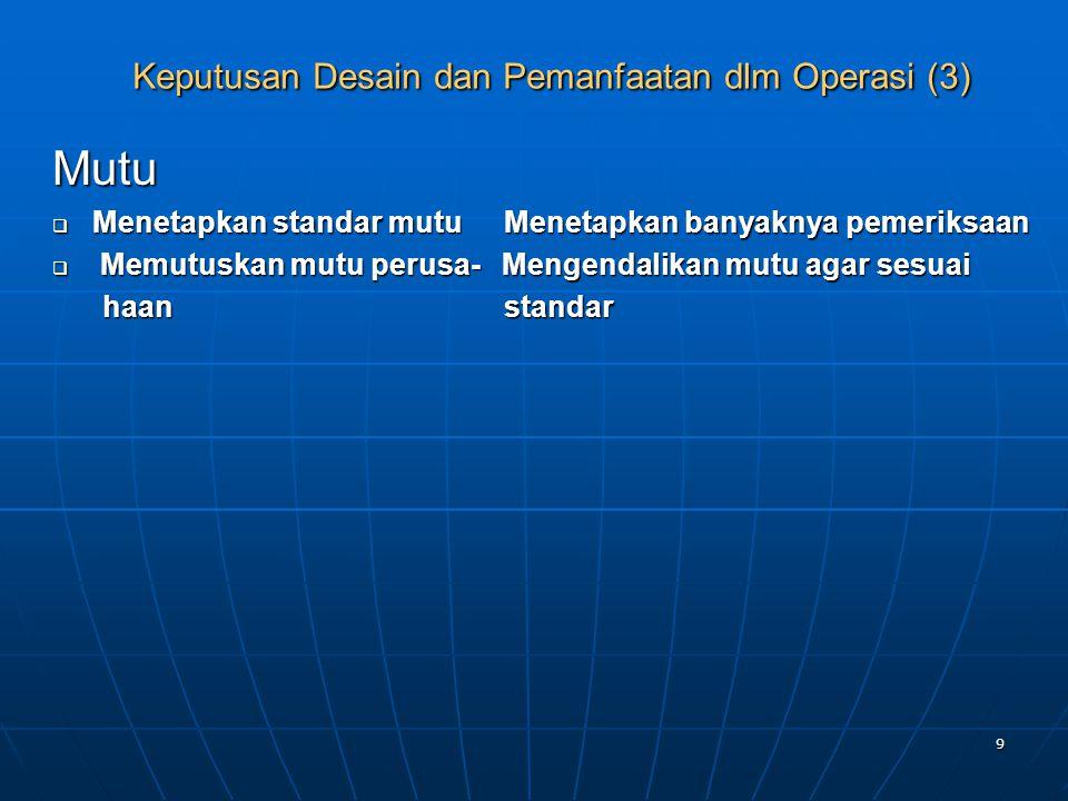 Keputusan Desain dan Pemanfaatan dlm Operasi (3)