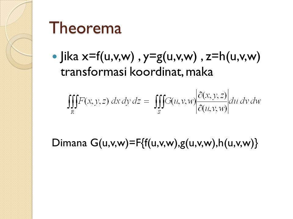 Theorema Jika x=f(u,v,w) , y=g(u,v,w) , z=h(u,v,w) transformasi koordinat, maka.