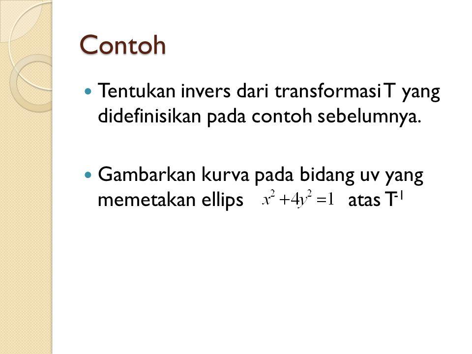 Contoh Tentukan invers dari transformasi T yang didefinisikan pada contoh sebelumnya.