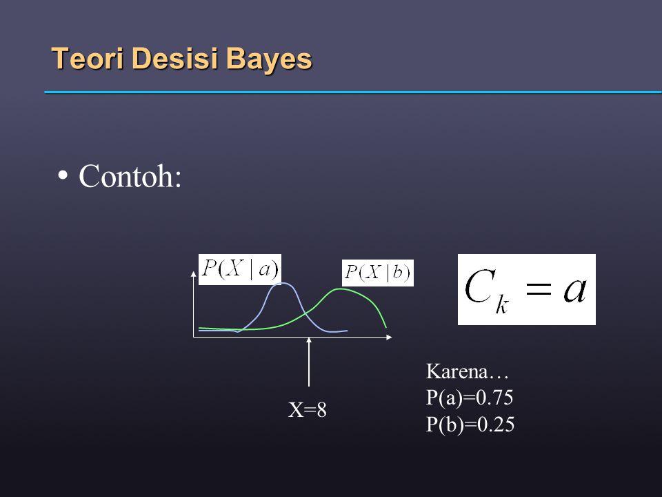Teori Desisi Bayes Contoh: Karena… P(a)=0.75 P(b)=0.25 X=8