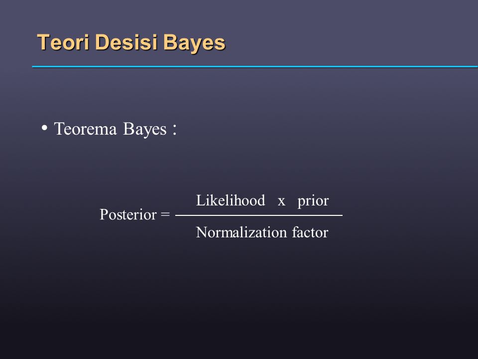 Teori Desisi Bayes Teorema Bayes : Likelihood x prior Posterior =