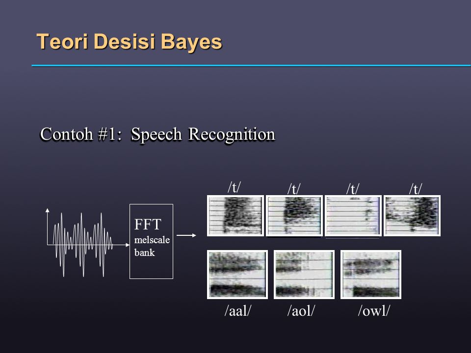 Teori Desisi Bayes Contoh #1: Speech Recognition /t/ /t/ /t/ /t/ FFT