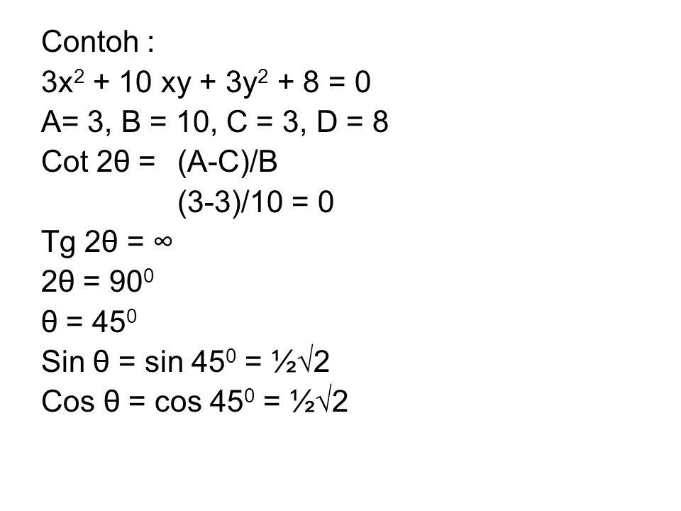 Contoh : 3x2 + 10 xy + 3y2 + 8 = 0. A= 3, B = 10, C = 3, D = 8. Cot 2θ = (A-C)/B. (3-3)/10 = 0.