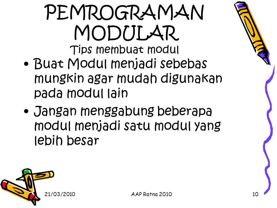 PEMROGRAMAN MODULAR Tips membuat modul