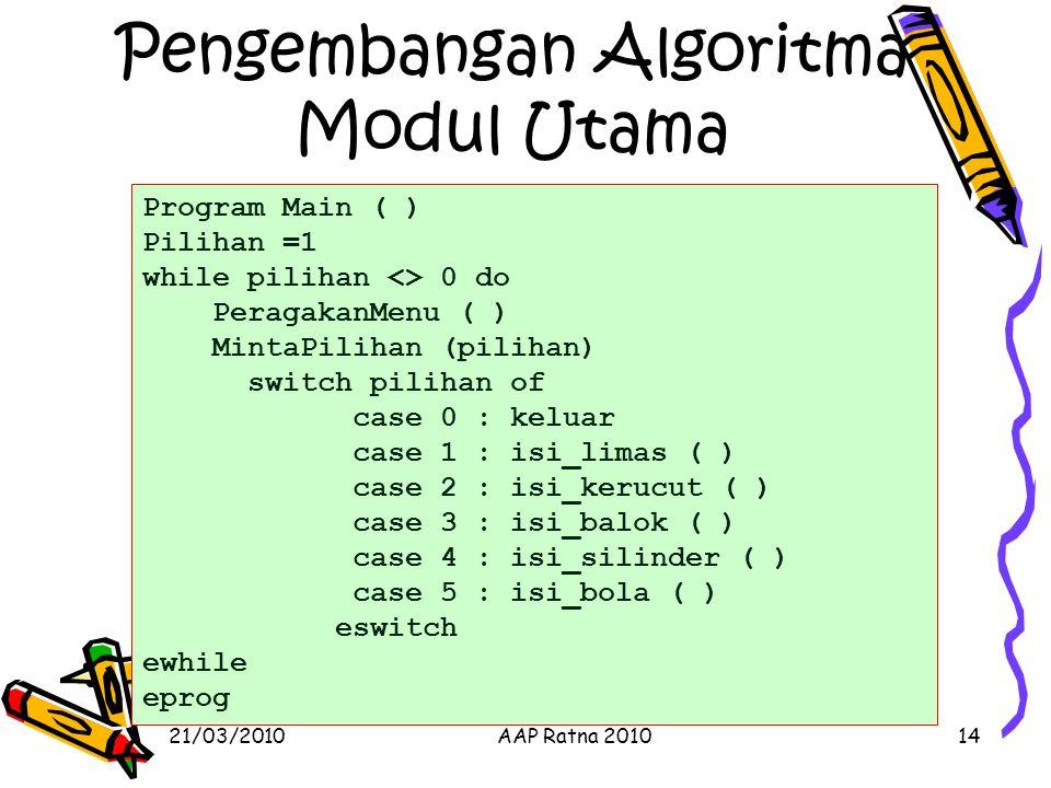 Pengembangan Algoritma Modul Utama