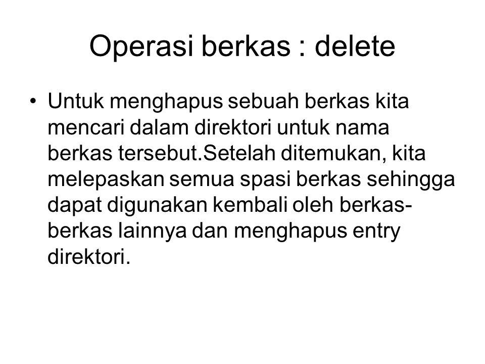 Operasi berkas : delete
