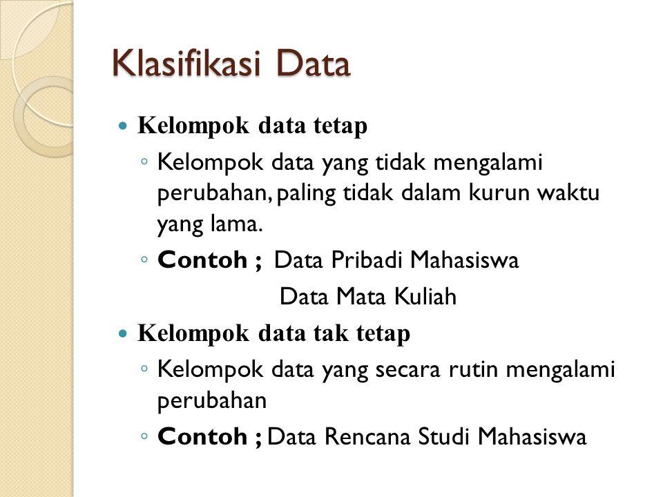 Klasifikasi Data Kelompok data tetap