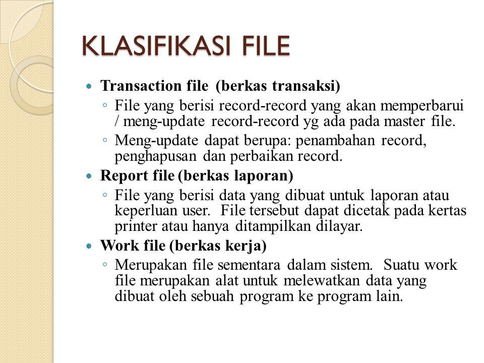 KLASIFIKASI FILE Transaction file (berkas transaksi)