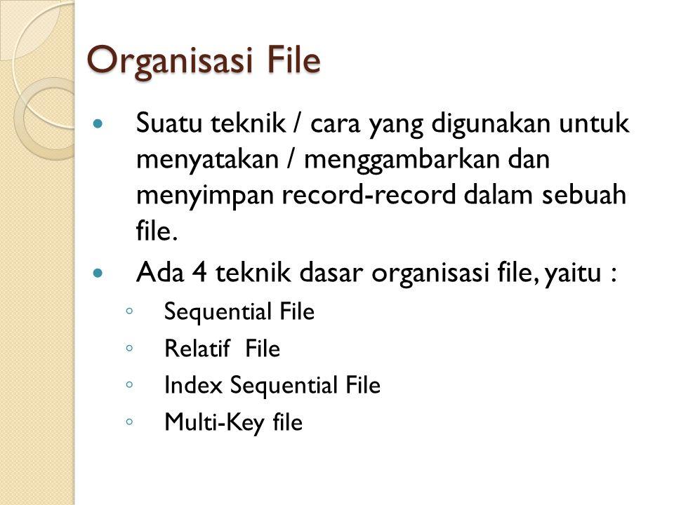 Organisasi File Suatu teknik / cara yang digunakan untuk menyatakan / menggambarkan dan menyimpan record-record dalam sebuah file.