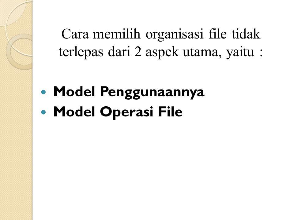 Cara memilih organisasi file tidak terlepas dari 2 aspek utama, yaitu :