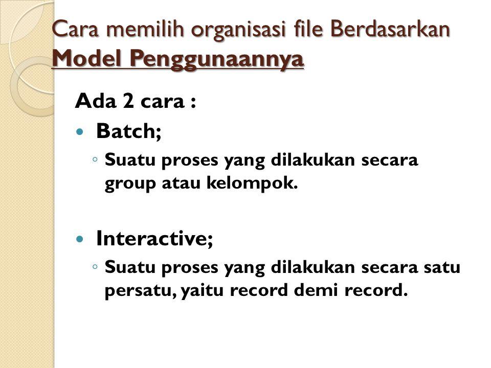 Cara memilih organisasi file Berdasarkan Model Penggunaannya