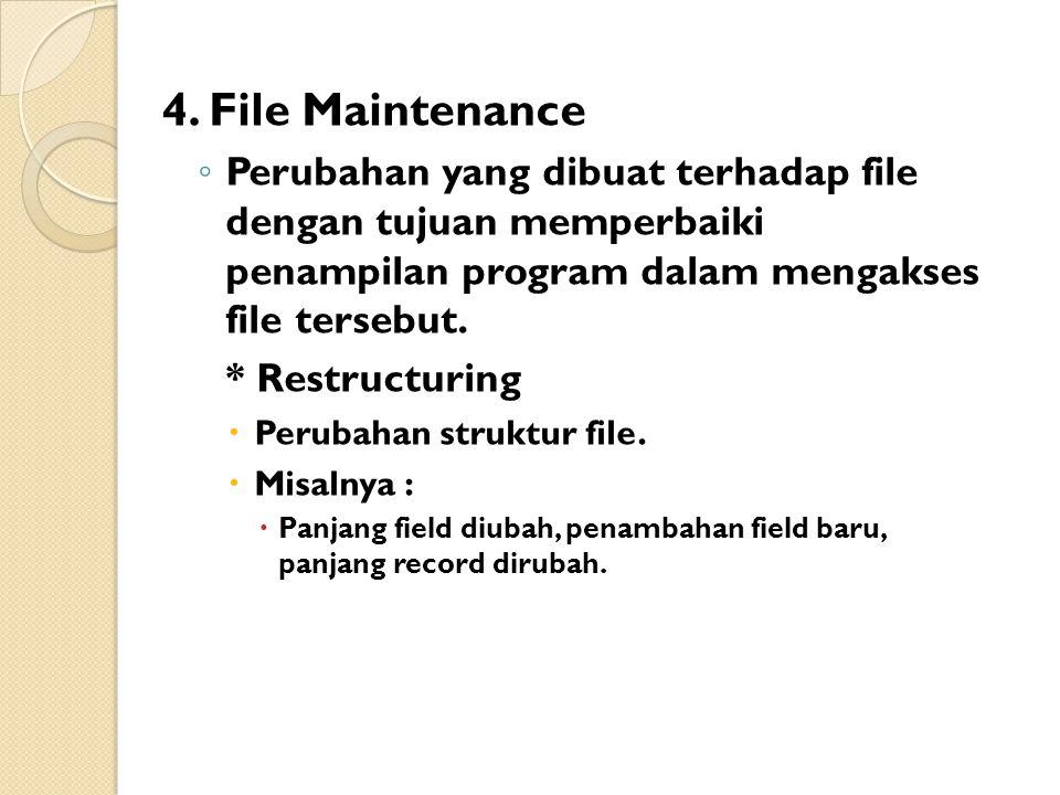 4. File Maintenance Perubahan yang dibuat terhadap file dengan tujuan memperbaiki penampilan program dalam mengakses file tersebut.