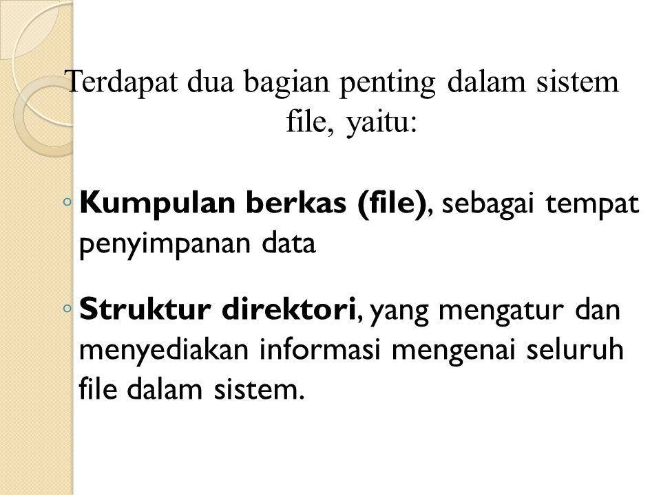 Terdapat dua bagian penting dalam sistem file, yaitu: