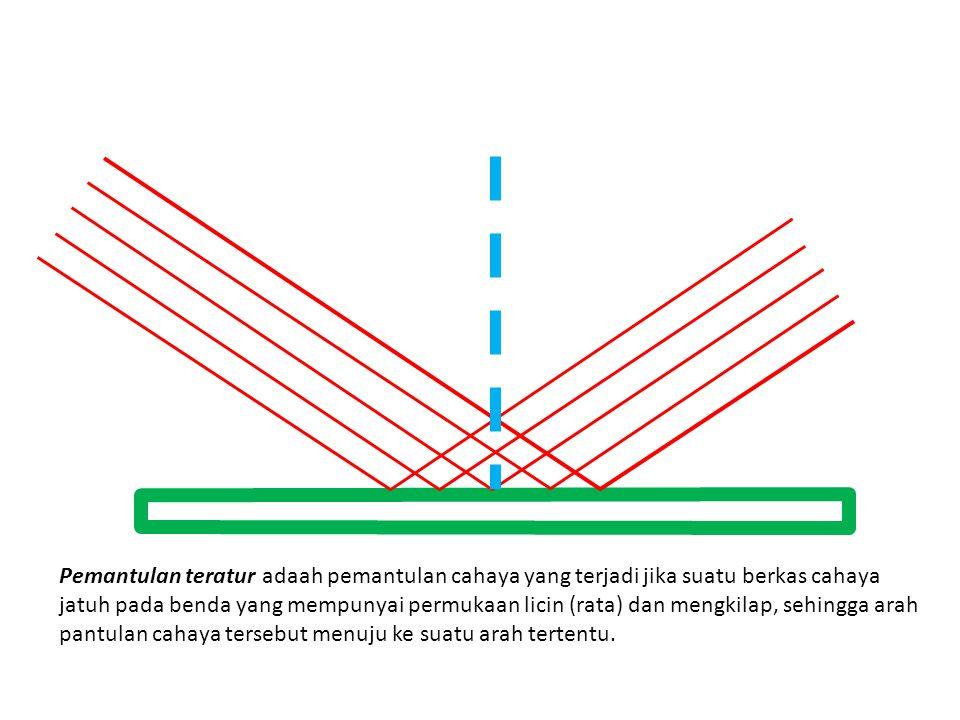 Pemantulan teratur adaah pemantulan cahaya yang terjadi jika suatu berkas cahaya jatuh pada benda yang mempunyai permukaan licin (rata) dan mengkilap, sehingga arah pantulan cahaya tersebut menuju ke suatu arah tertentu.