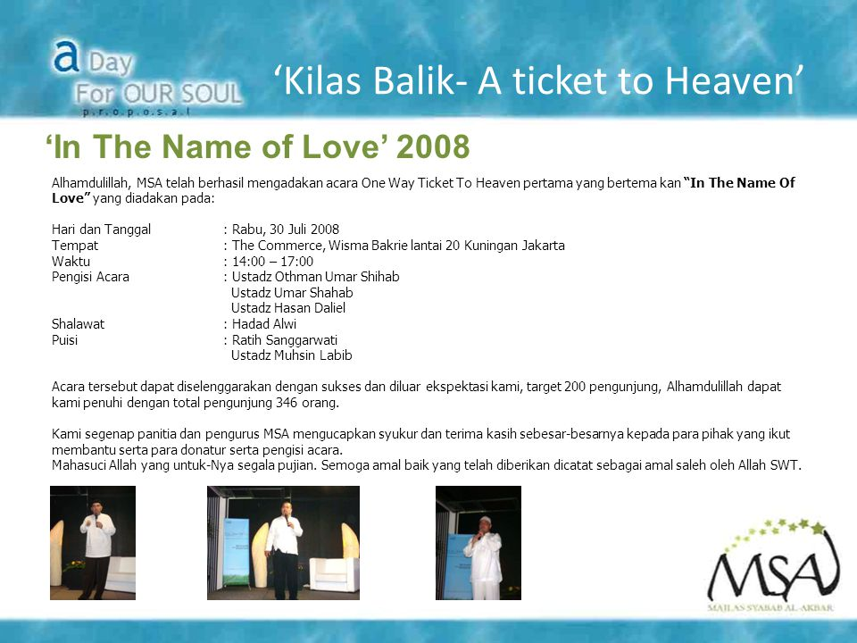 'Kilas Balik- A ticket to Heaven'
