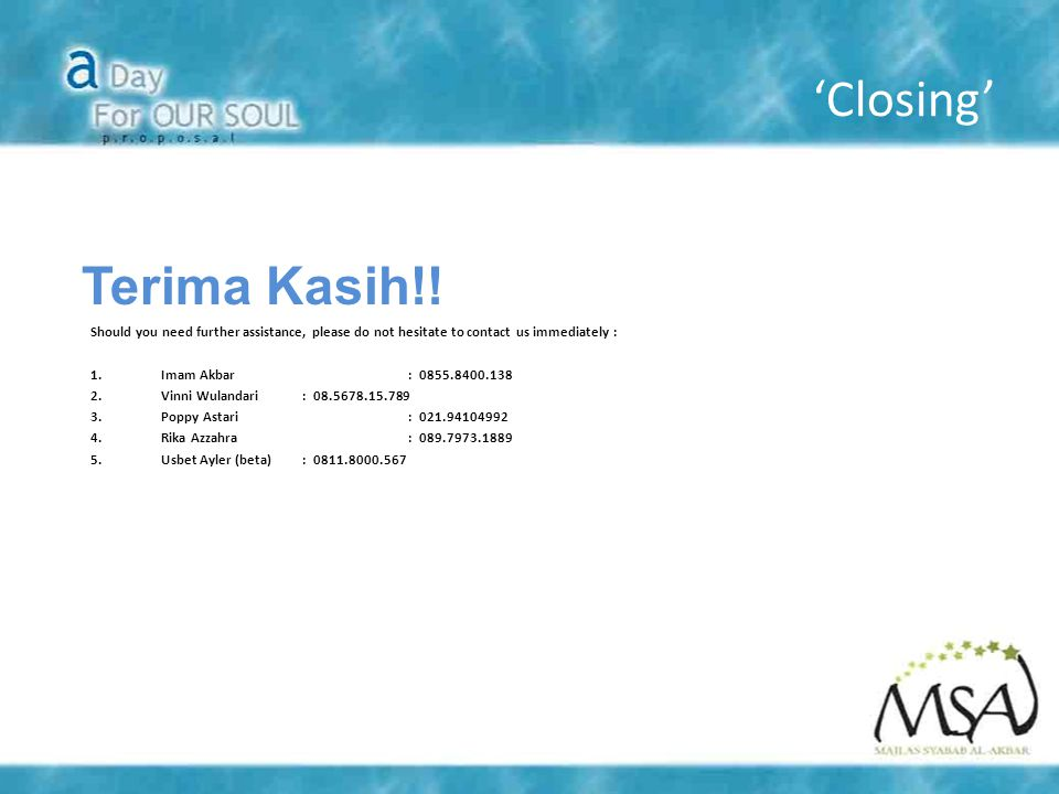 'Closing' Terima Kasih!!