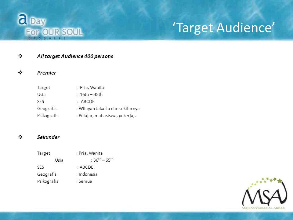 'Target Audience' All target Audience 400 persons Premier Sekunder