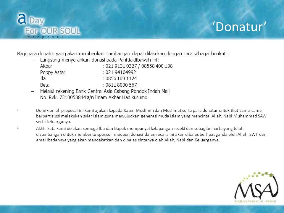 'Donatur' Bagi para donatur yang akan memberikan sumbangan dapat dilakukan dengan cara sebagai berikut :