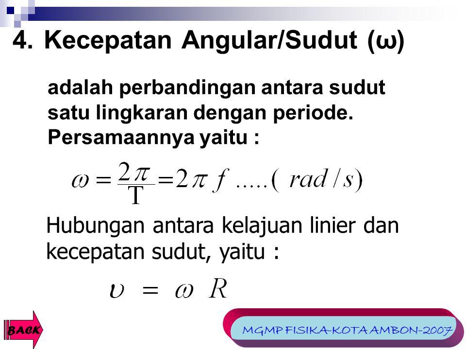 Kecepatan Angular/Sudut (ω)