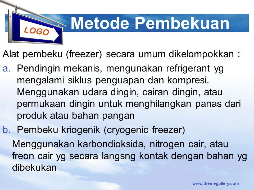 Metode Pembekuan Alat pembeku (freezer) secara umum dikelompokkan :