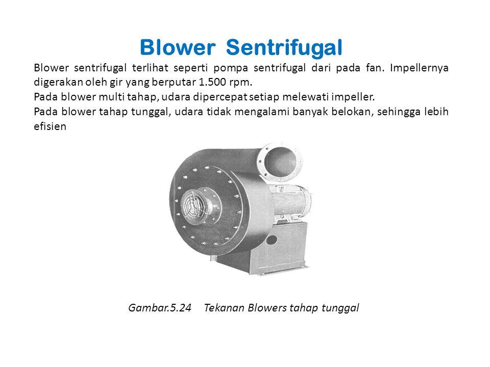 Blower Sentrifugal Blower sentrifugal terlihat seperti pompa sentrifugal dari pada fan. Impellernya digerakan oleh gir yang berputar 1.500 rpm.