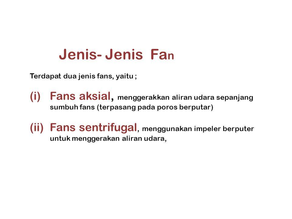 Jenis- Jenis Fan. Terdapat dua jenis fans, yaitu ; Fans aksial, menggerakkan aliran udara sepanjang sumbuh fans (terpasang pada poros berputar)