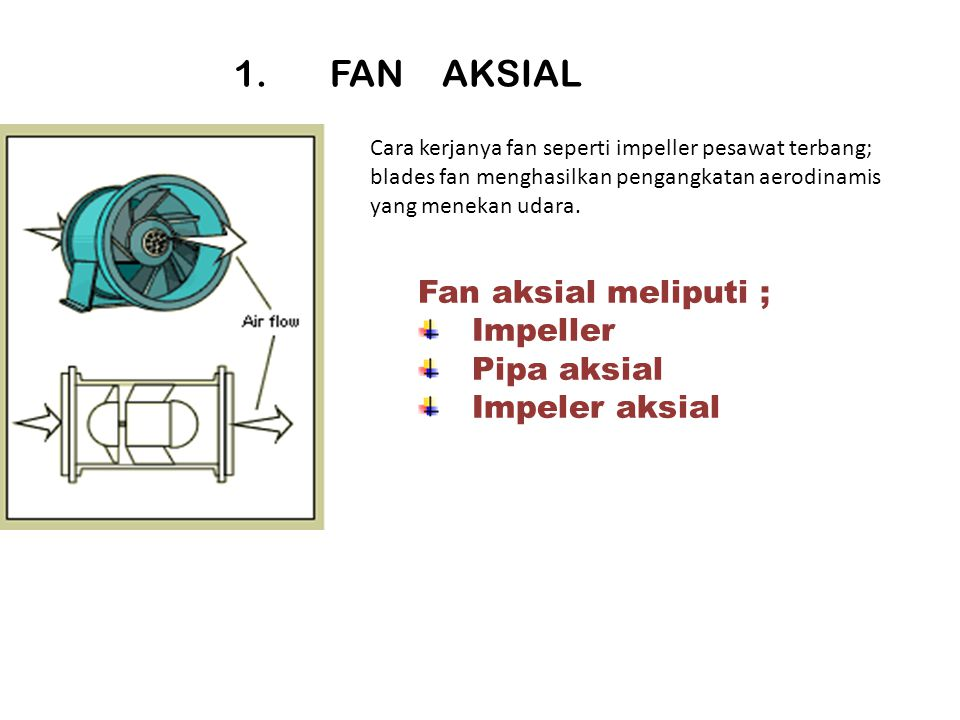 1. FAN AKSIAL Fan aksial meliputi ; Impeller Pipa aksial