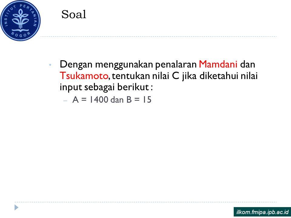 Soal Dengan menggunakan penalaran Mamdani dan Tsukamoto, tentukan nilai C jika diketahui nilai input sebagai berikut :