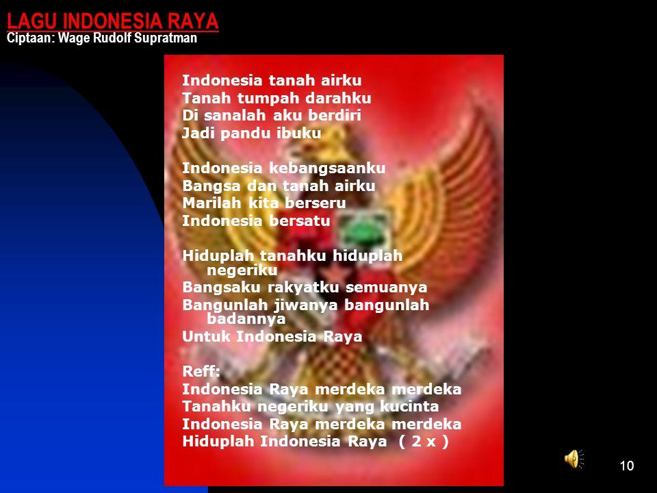 LAGU INDONESIA RAYA Ciptaan: Wage Rudolf Supratman