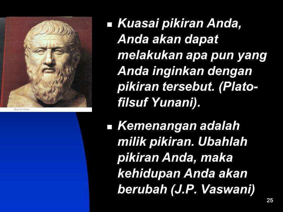 Kuasai pikiran Anda, Anda akan dapat melakukan apa pun yang Anda inginkan dengan pikiran tersebut. (Plato- filsuf Yunani).