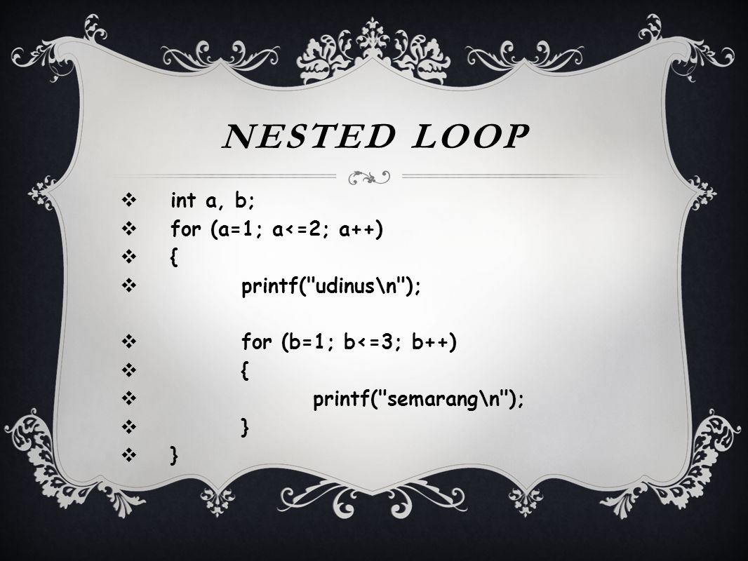 Nested Loop int a, b; for (a=1; a<=2; a++) { printf( udinus\n );