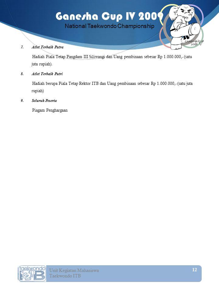 Atlet Terbaik Putra Hadiah Piala Tetap Pangdam III Siliwangi dan Uang pembinaan sebesar Rp 1.000.000,- (satu juta rupiah).