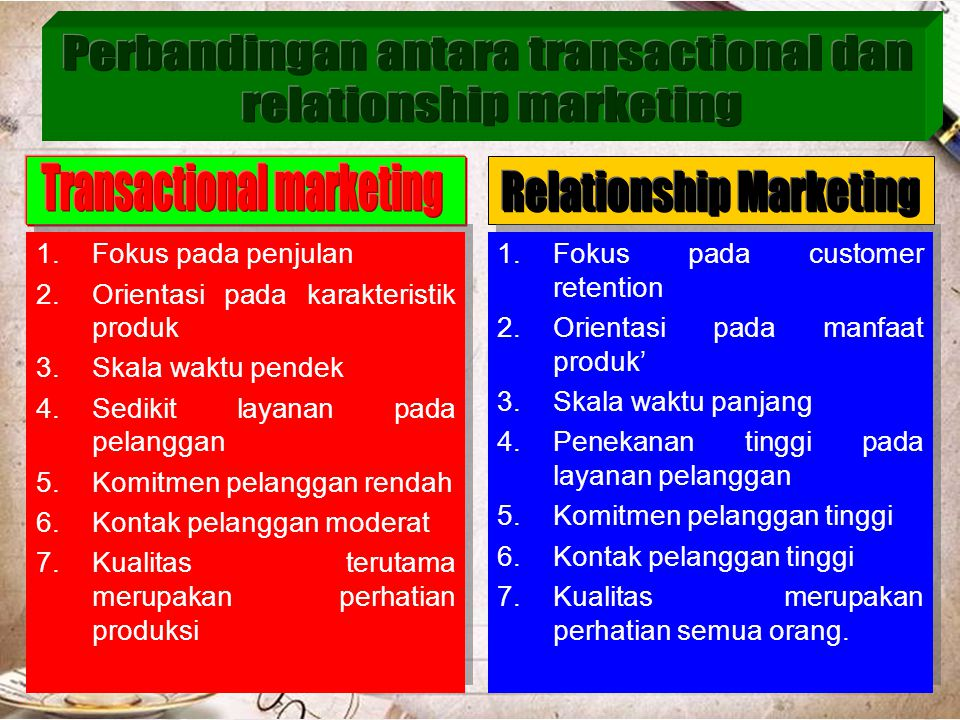Perbandingan antara transactional dan relationship marketing