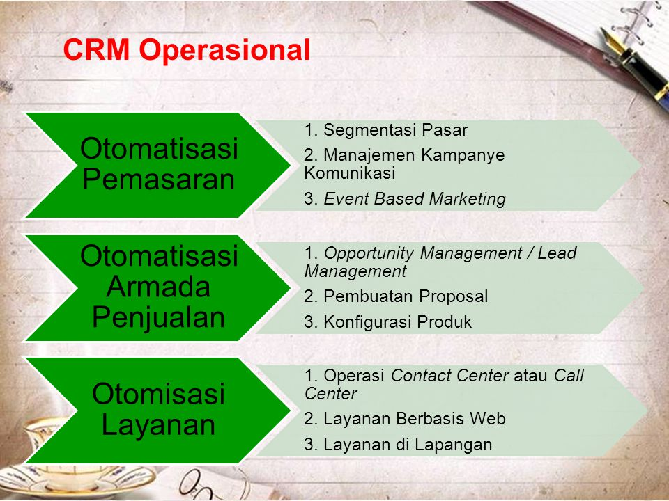 CRM Operasional Otomatisasi Pemasaran 3. Event Based Marketing