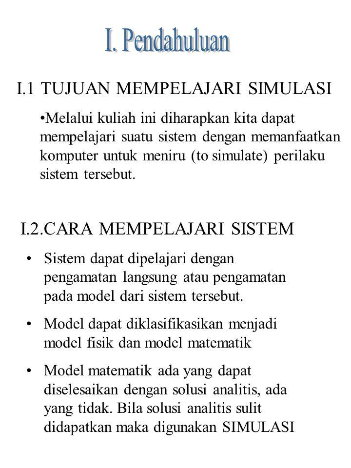 I. Pendahuluan I.1 TUJUAN MEMPELAJARI SIMULASI