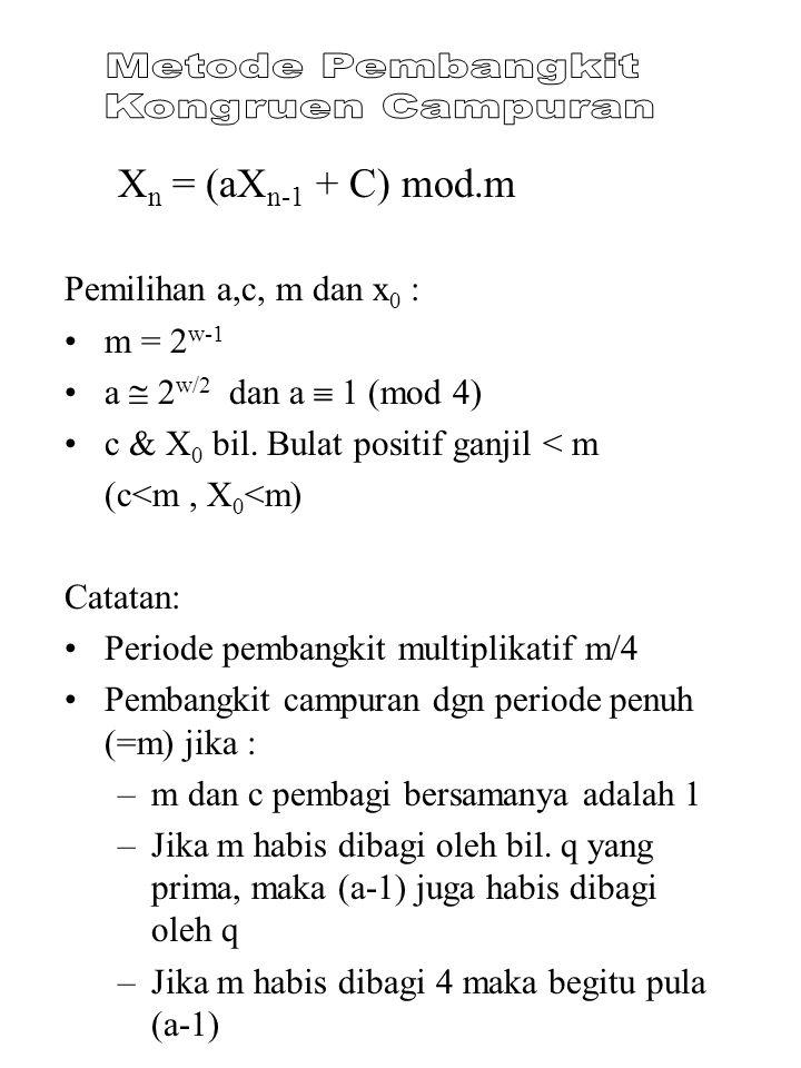 Metode Pembangkit Kongruen Campuran Xn = (aXn-1 + C) mod.m