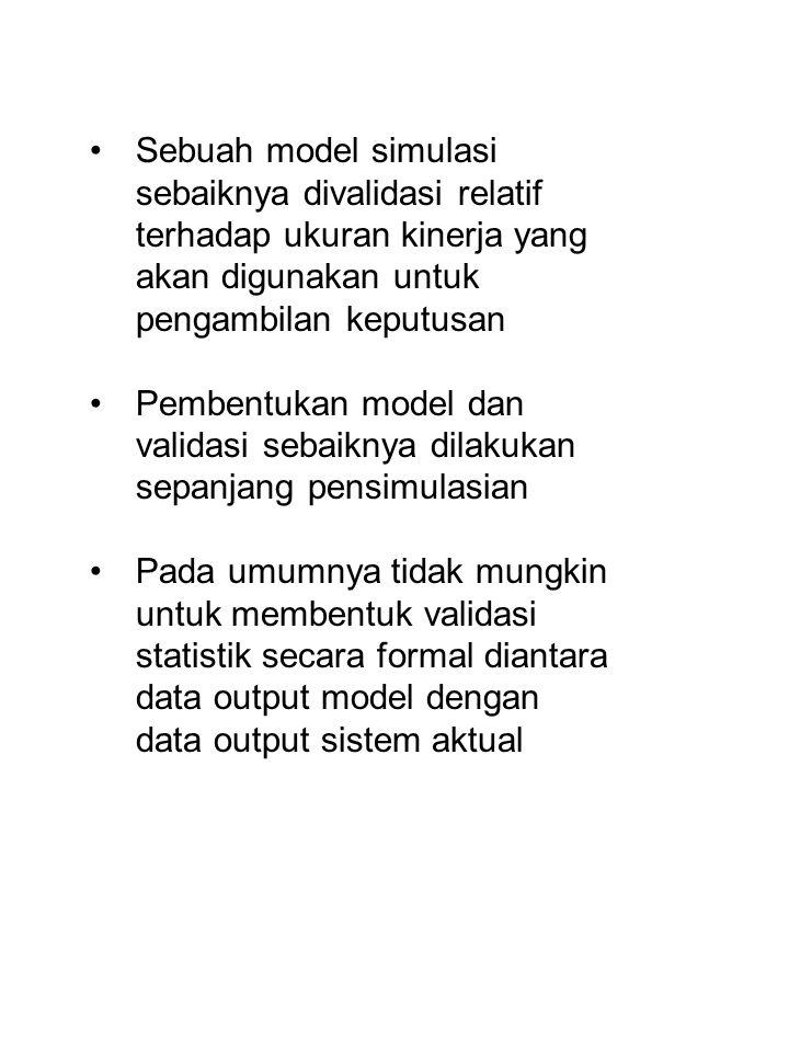 Sebuah model simulasi sebaiknya divalidasi relatif terhadap ukuran kinerja yang akan digunakan untuk pengambilan keputusan