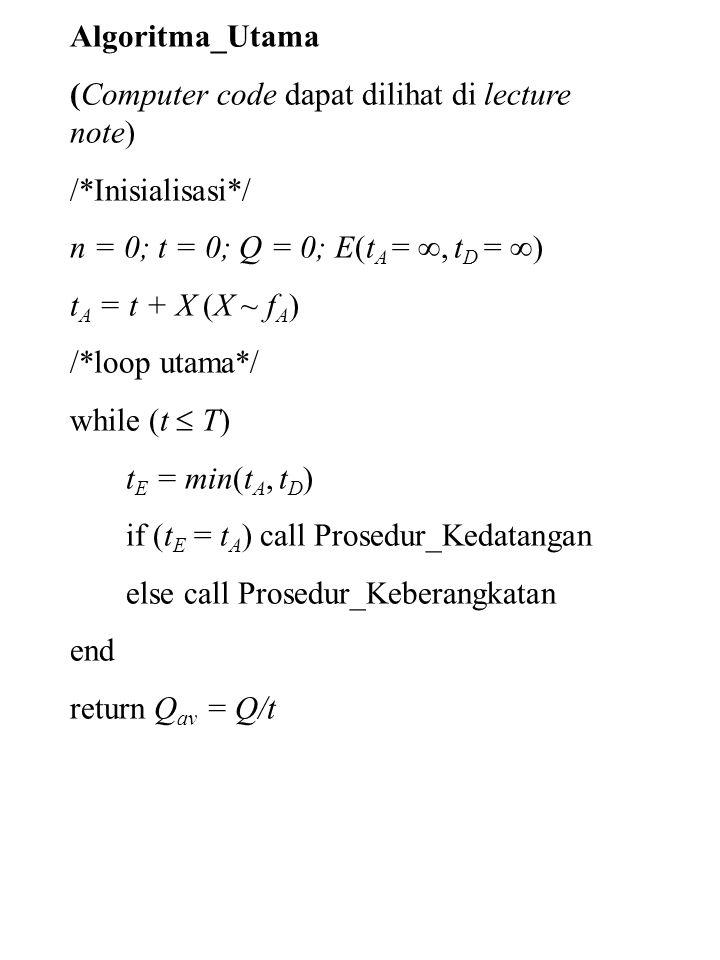 Algoritma_Utama (Computer code dapat dilihat di lecture note) /*Inisialisasi*/ n = 0; t = 0; Q = 0; E(tA = , tD = )