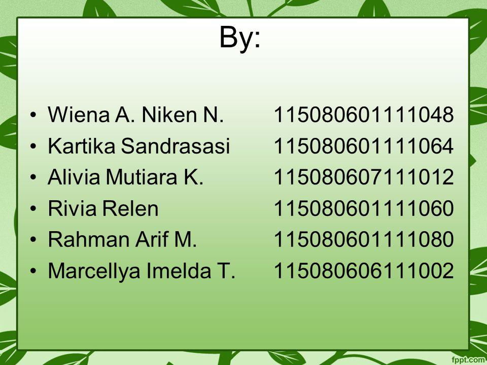 By: Wiena A. Niken N. 115080601111048. Kartika Sandrasasi 115080601111064. Alivia Mutiara K. 115080607111012.