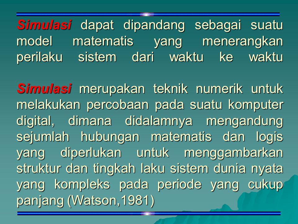 Simulasi dapat dipandang sebagai suatu model matematis yang menerangkan perilaku sistem dari waktu ke waktu Simulasi merupakan teknik numerik untuk melakukan percobaan pada suatu komputer digital, dimana didalamnya mengandung sejumlah hubungan matematis dan logis yang diperlukan untuk menggambarkan struktur dan tingkah laku sistem dunia nyata yang kompleks pada periode yang cukup panjang (Watson,1981)
