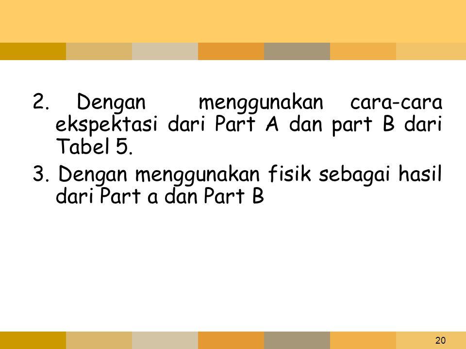 2. Dengan menggunakan cara-cara ekspektasi dari Part A dan part B dari Tabel 5.