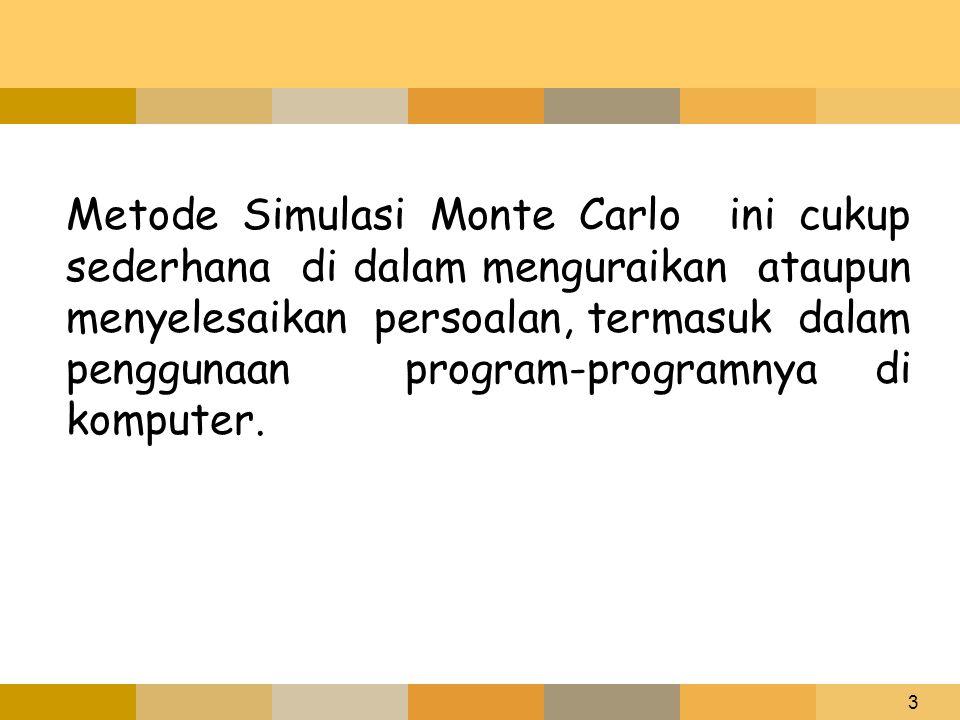 Metode Simulasi Monte Carlo ini cukup sederhana di dalam menguraikan ataupun menyelesaikan persoalan, termasuk dalam penggunaan program-programnya di komputer.