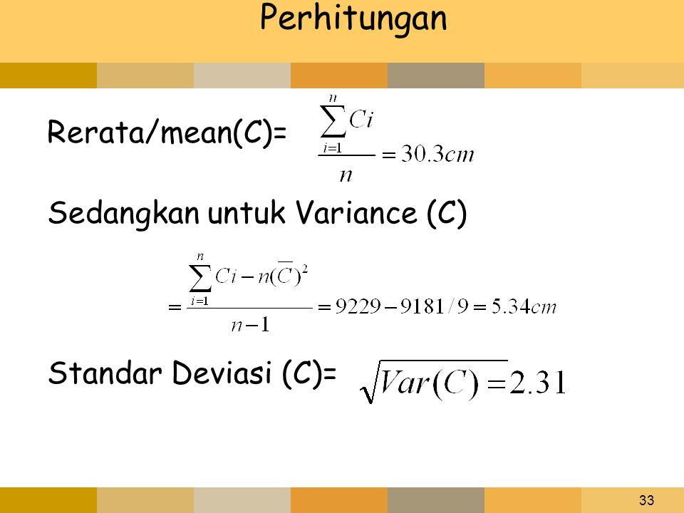 Perhitungan Rerata/mean(C)= Sedangkan untuk Variance (C)