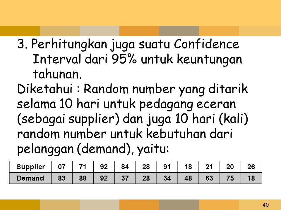 3. Perhitungkan juga suatu Confidence Interval dari 95% untuk keuntungan tahunan.