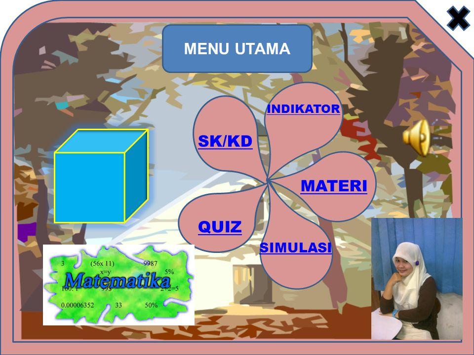 MENU UTAMA INDIKATOR SK/KD MATERI QUIZ SIMULASI