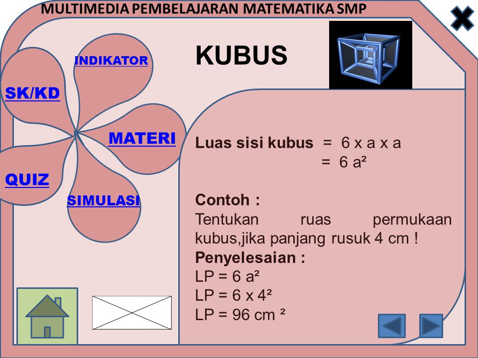 Luas sisi kubus = 6 x a x a = 6 a². Contoh : Tentukan ruas permukaan kubus,jika panjang rusuk 4 cm !