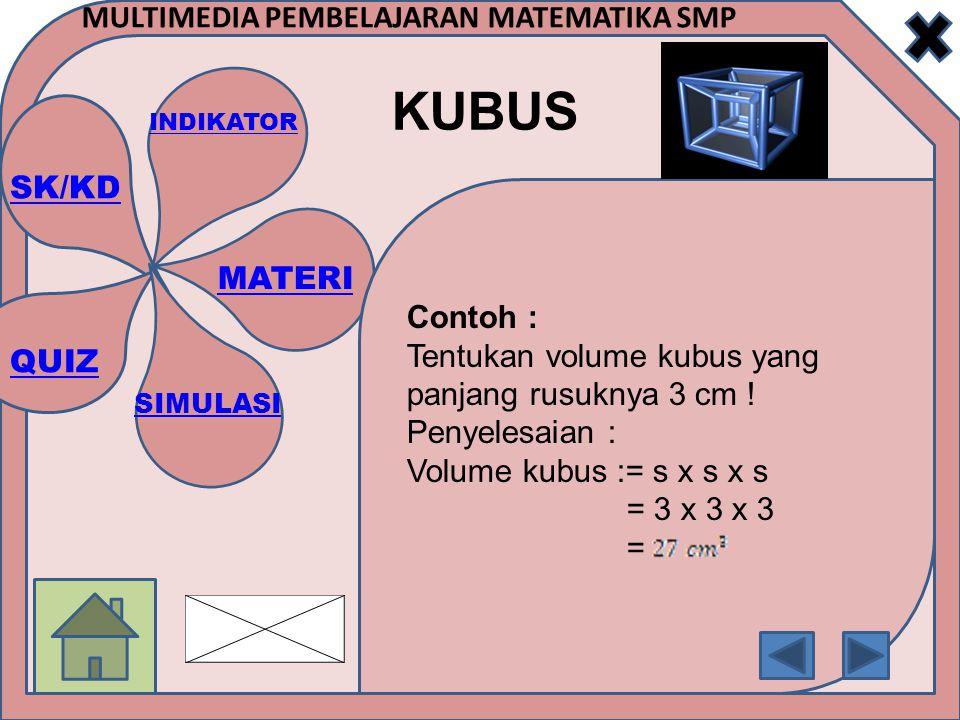 Contoh : Tentukan volume kubus yang panjang rusuknya 3 cm ! Penyelesaian : Volume kubus := s x s x s.