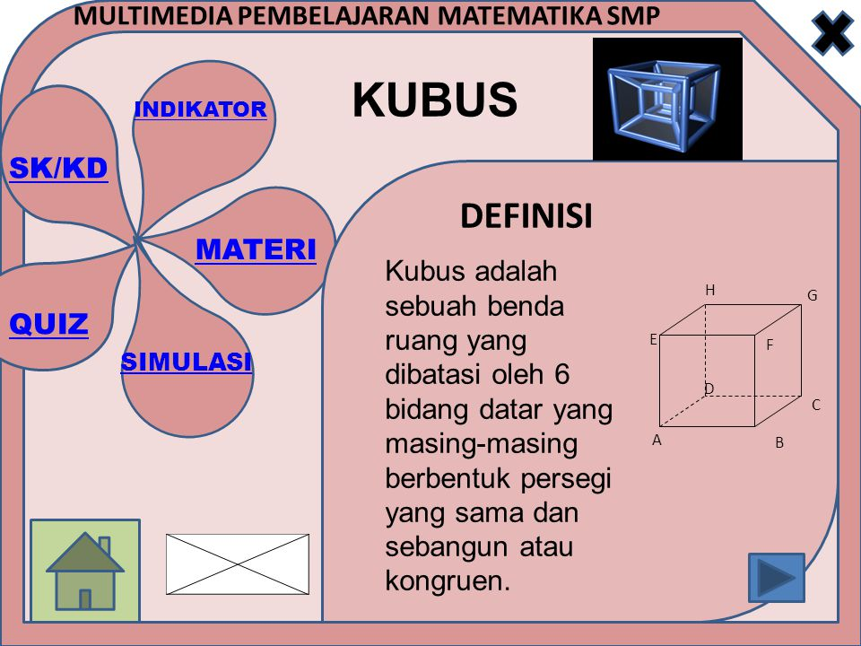Kubus adalah sebuah benda ruang yang dibatasi oleh 6 bidang datar yang masing-masing berbentuk persegi yang sama dan sebangun atau kongruen.