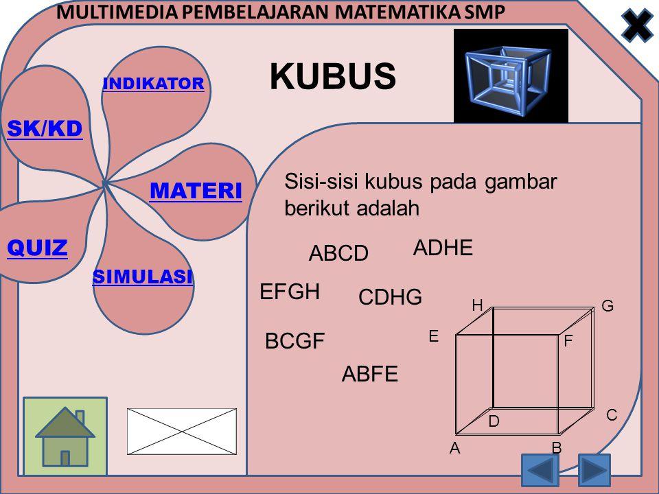 Sisi-sisi kubus pada gambar berikut adalah