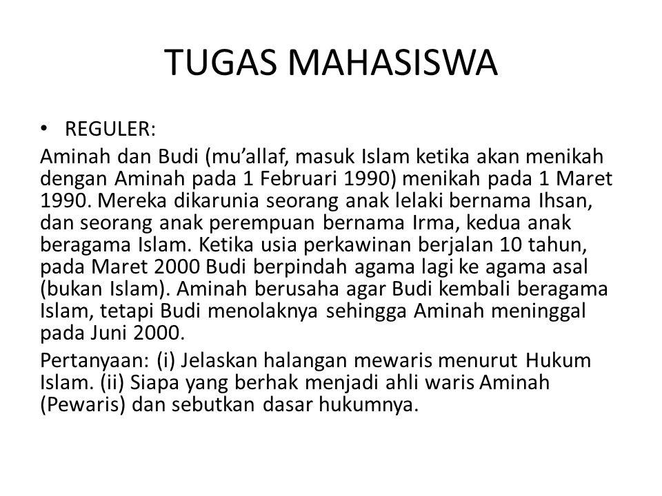 TUGAS MAHASISWA REGULER: